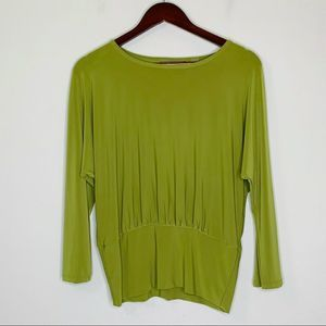Investments Green Scoop Neck 3/4 Sleeve Blouse M